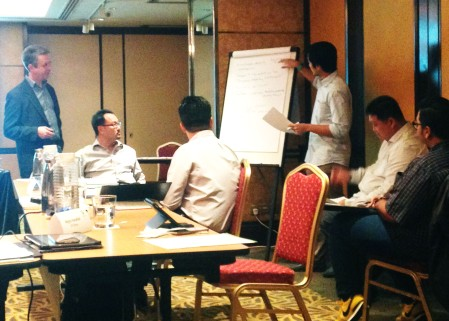 Charlie Pownall leading an Online Reputation Risk workshop - Singapore, 2014