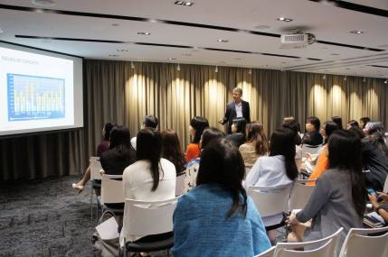 Charlie Pownall speaking to SPRG clients and employees - Hong Kong, June 2016